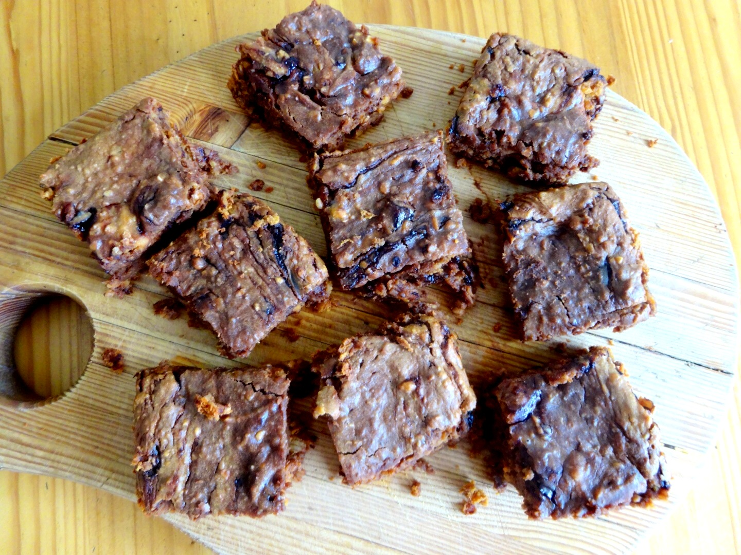 Peanut Butter, Chocolate Chip, Sweet Potato Protein Brownies